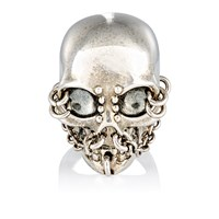 Alexander Mcqueen Skull And Chain Ring Silver