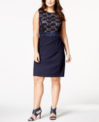 Connected Plus Size Lace Tiered Sheath Dress Navy