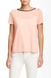 Alice Olivia Sterling Cutout Back Linen Blend Tee With Genuine Leather Pink