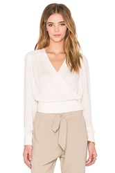 Native Stranger Pleated Wrapped Front Blouse Beige