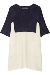 The Elder Statesman Guatemala Two Tone Cashmere Tunic Navy