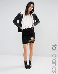Glamorous Tall Denim Skirt With Tiger Embroidery Co Ord Black