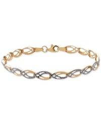 Macy's Two Tone Fancy Link Bracelet In 14K Gold And Rhodium Plate Two Tone