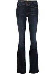 Mother Flared Low Rise Jeans Blue