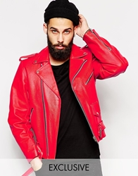 Reclaimed Vintage Leather Biker Jacket Red