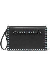 Valentino The Rockstud Embellished Textured Leather Clutch