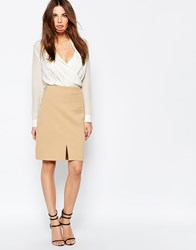 Selected Soma Pencil Skirt With Front Split Camel Brown