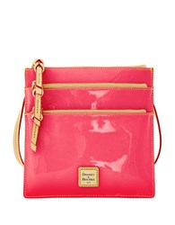 Dooney And Bourke Patent Leather North South Triple Zip Crossbody Fuchsia