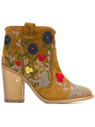 Laurence Dacade Floral Embroidered Boots Nude And Neutrals