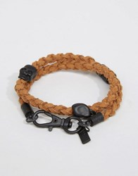 Icon Brand Plaited Wrap Bracelet In Brown Brown