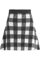 Balenciaga Checked Brushed Knitted Mini Skirt Black
