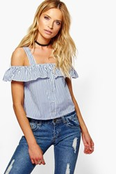 Boohoo Button Front Off The Shoulder Ruffle Top Blue