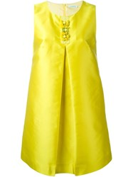 P.A.R.O.S.H. Inverted Pleat A Line Dress Yellow And Orange