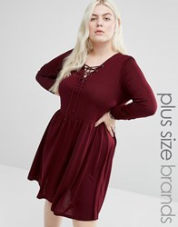 Brave Soul Plus Jersey Skater Dress With Lace Up Front Elderberry Red