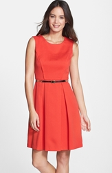 Belted Pleated Fit And Flare Dress Poppy