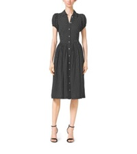 Michael Kors Polka Dot Silk Georgette Shirtdress Black White