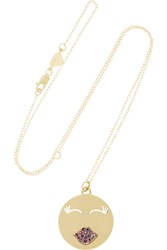 Alison Lou Mwa 14 Karat Gold Ruby Necklace