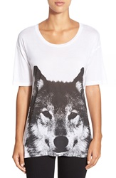 Press 'Wolf Pack' Graphic Drop Shoulder Tee Wolf Pack White
