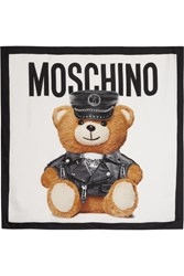 Moschino Teddy Printed Silk Scarf White