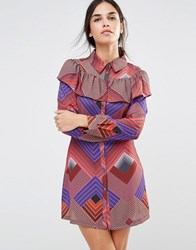 Liquorish Geometric Frill Long Sleeve Dress Orange Purple Multi