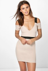Boohoo Issy Plunge Open Shoulder Bodycon Dress Stone
