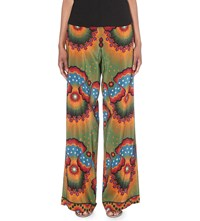 Valentino Enchanted Wonderland Wide Leg Silk Crepe Trousers Green Red Multi
