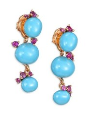 Pomellato Amethyst And Turquoise Ceramic Round Drop Earrings