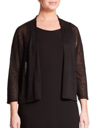 Eileen Fisher Plus Size Cropped Open Cardigan Black