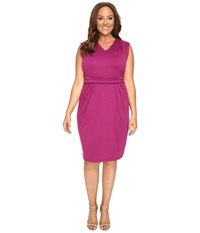 Christin Michaels Plus Size Kassandra V Neck Ponte Dress With Cinched Waist Magenta Women's Dress Pink