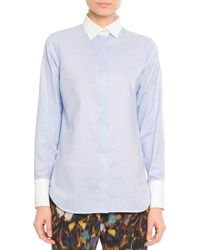 Valentino White Cuff And Collared Cotton Blouse Blue White