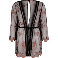 River Island Womens Black Mesh Embroidered Caftan