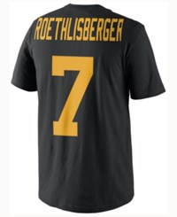 Nike Men's Ben Roethlisberger Pittsburgh Steelers Color Rush Name And Number T Shirt Black