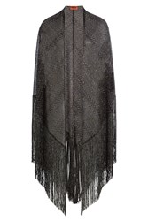 Missoni Metallic Knit Cape Poncho Black