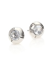 John Hardy Bamboo Sterling Silver Stud Earrings White Topaz Blue Topaz