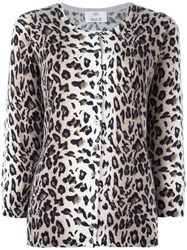 Allude Leopard Print Cardigan Brown