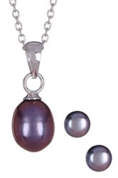 6.5 7Mm Black Freshwater Pearl Earrings And Necklace Set Blue