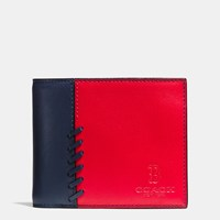 Coach Mlb Compact Id Wallet In Rip And Repair Leather Bos Red Sox