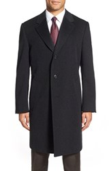 Men's Big And Tall Canali Classic Fit Wool And Cashmere Topcoat Charcoal