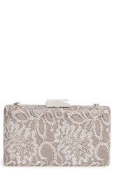 Sondra Roberts Chantilly Lace Box Clutch Metallic Silver