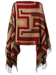 Etro Patterned Poncho Red