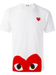 Comme Des Garcons Play Heart Logo Print T Shirt White