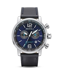 Brera Orologi Dinamico Stainless Steel Watch With Navy Blue Leather Strap 44Mm