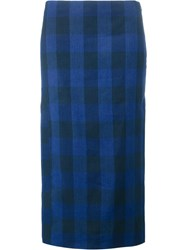 N 21 No21 Plaid Midi Skirt Blue