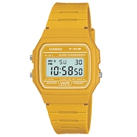 Casio F 91Wc 4Aef Unisex Core Digital Chronograph Rectangular Dial Pink Rubber Strap Watch Yellow