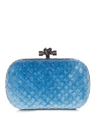 Bottega Veneta Knot Velvet And Water Snake Clutch Blue