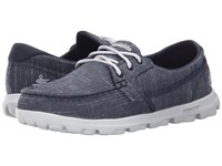 Skechers On The Go Mist Navy White Women's Lace Up Casual Shoes Blue
