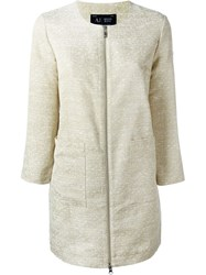 Armani Jeans Woven Zip Coat Nude And Neutrals