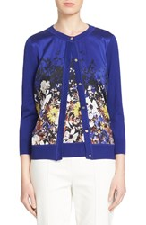 Women's St. John Collection Floral Print Silk Blend Cardigan
