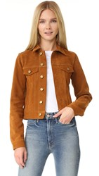 Theperfext Daisy Suede Jacket Cognac