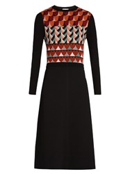 Red Valentino Heart Intarsia Knit Wool Dress Multi